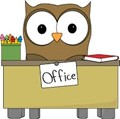 Owl cartoon sitting at office desk.