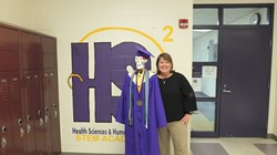 Mrs. McCloud with the HS2 mascot