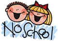No School banner with student cartoon figures