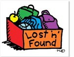 "box labeled ""lost n' found"" with multiple items inside"