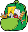 bookbag filled with school supplies