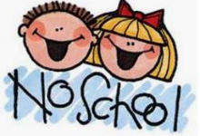boy & girl with no school sign