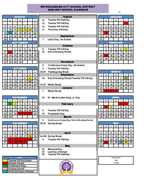 Snapshot of the 2020-2021 school calendar