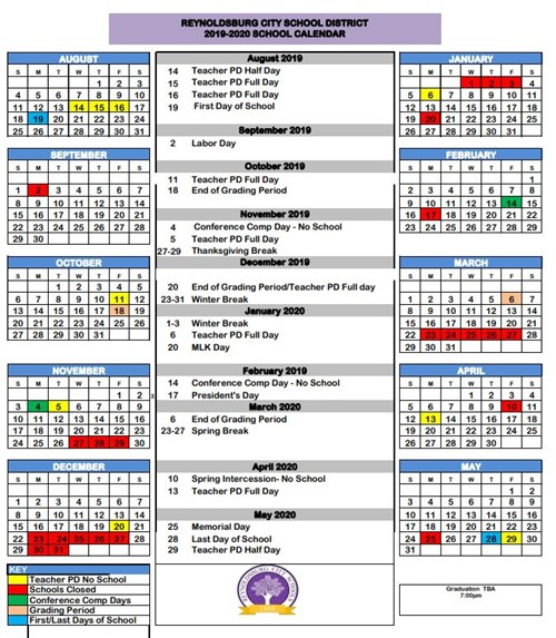 snapshot of school year calendar