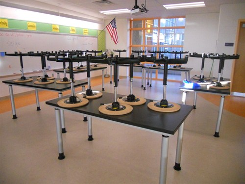 photo of chairs and tables in innovation station classroom