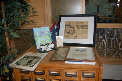 photo of old card catalog with U.S. president display on top.