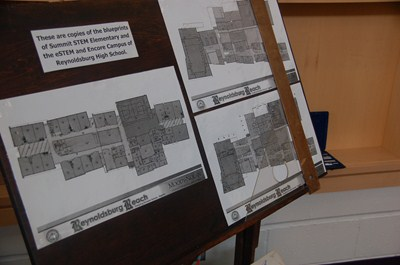 photo of the copies of the blueprints of the school buildings at Summit campus.