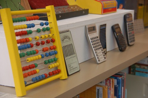 photo of vintage calculators.