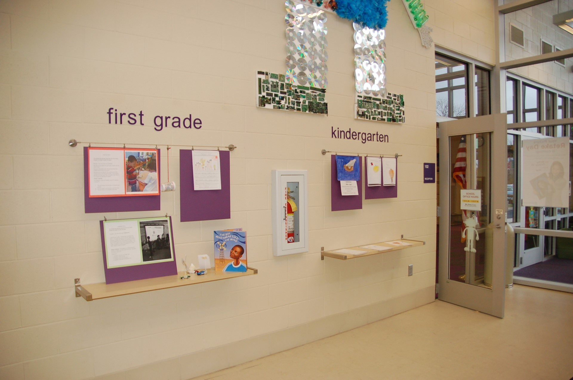 Principal's Gallery showing first grade and kindergarten area.