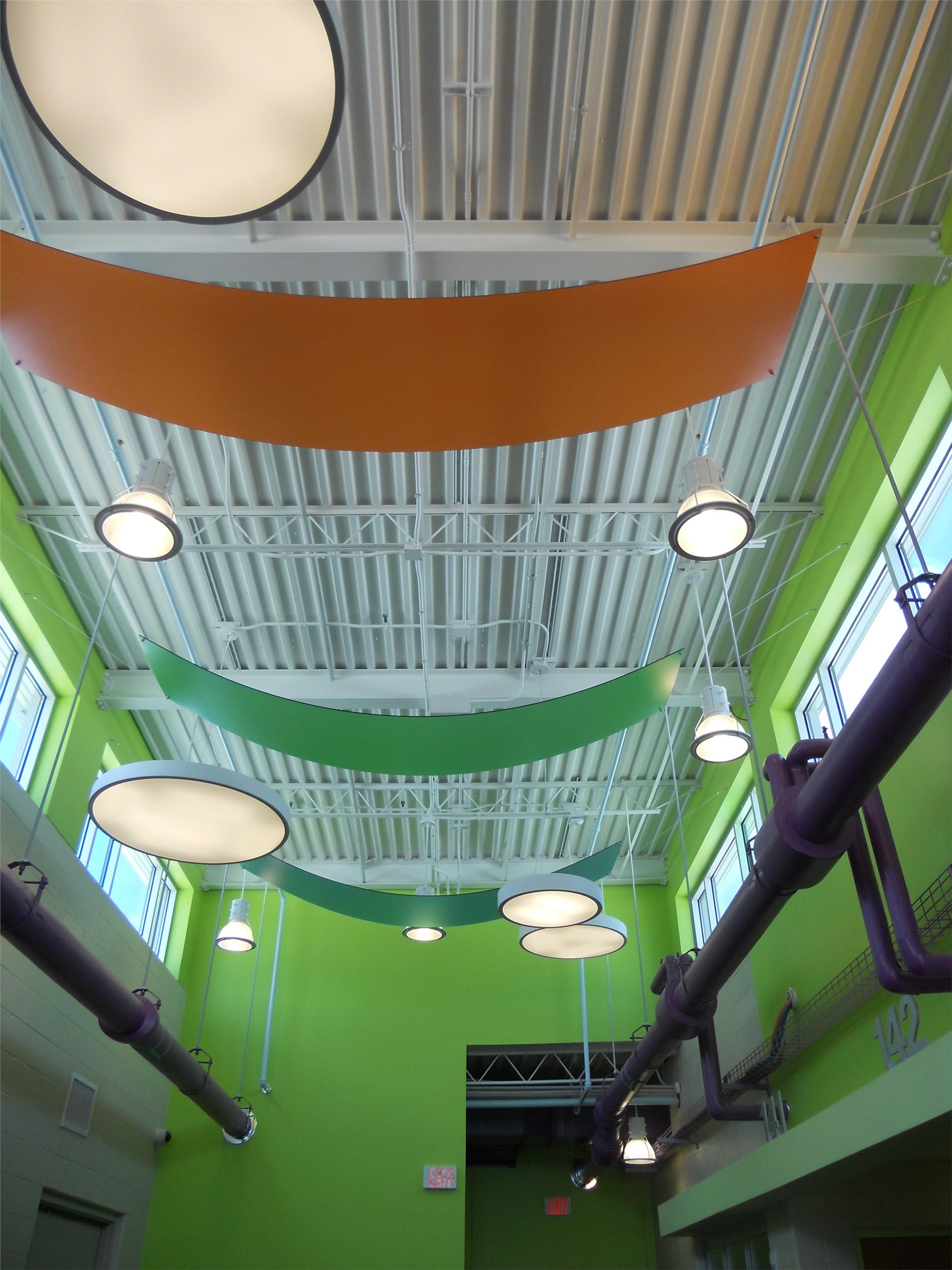 photo of ceiling design structure in kindergarten hallway.
