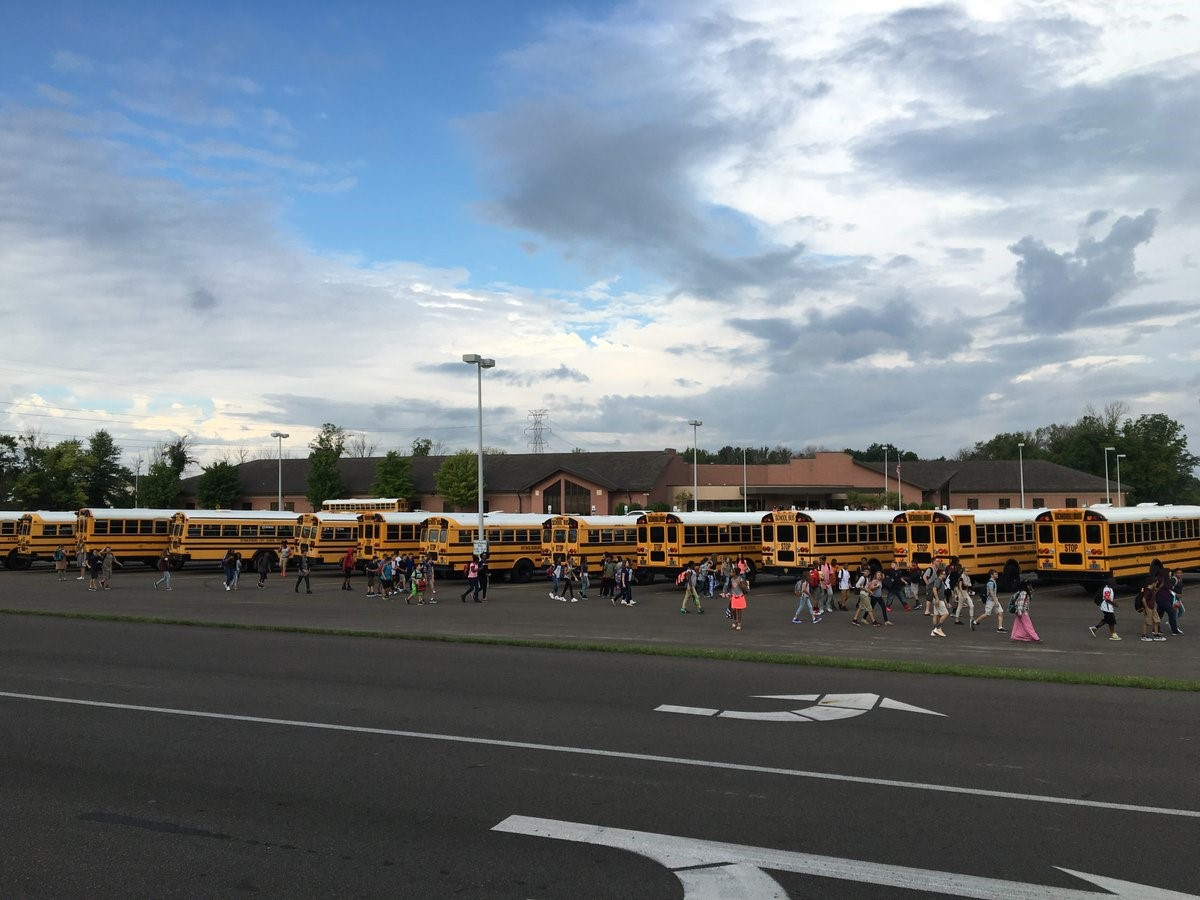 Students getting on buses