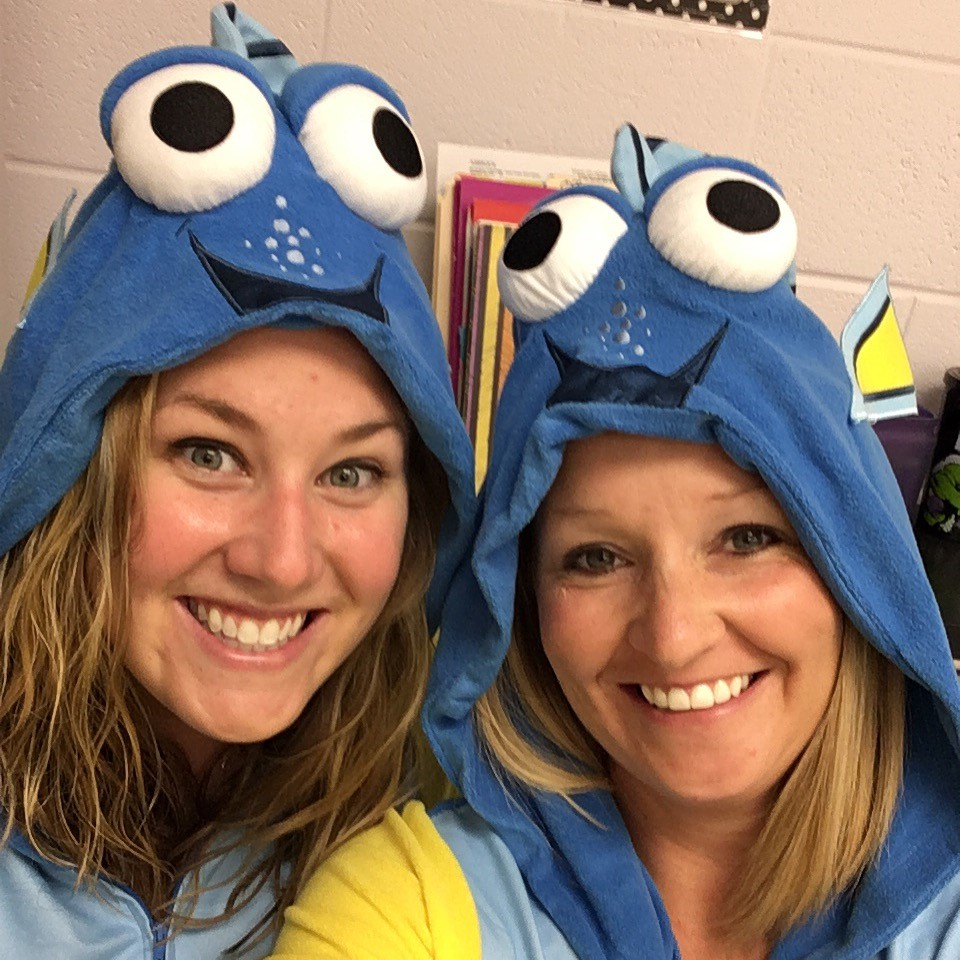 Mrs. Case and Mrs. Asbrock enjoying PJ Day!
