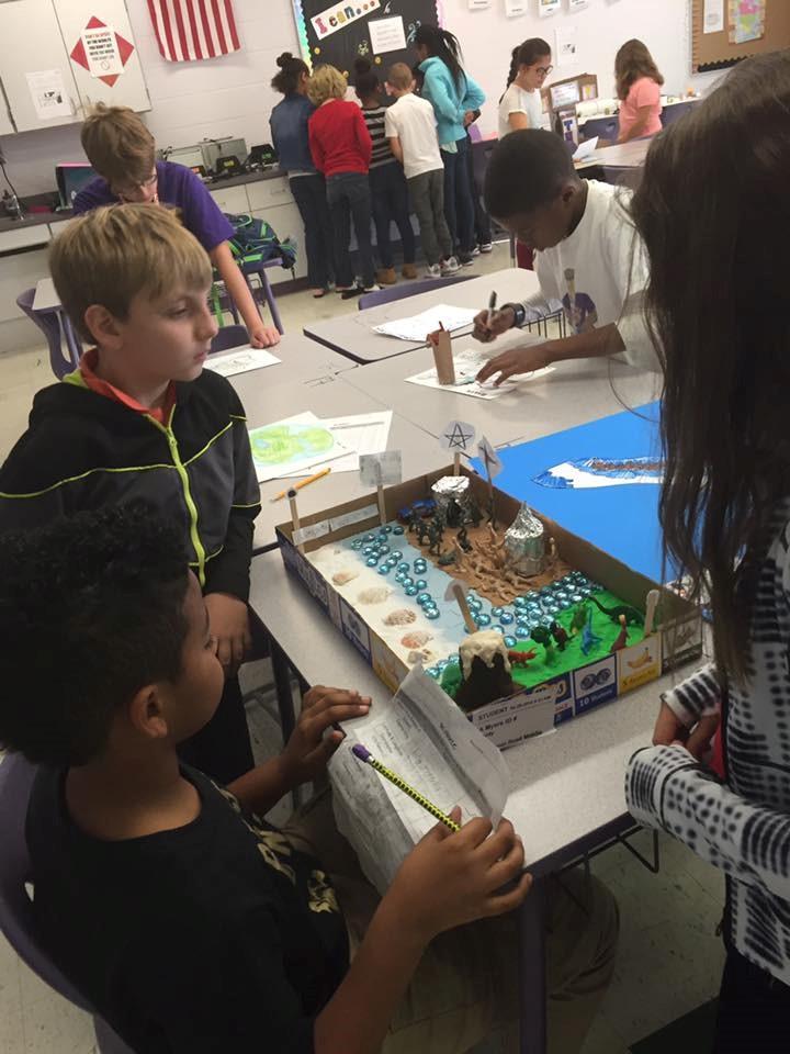 Students gathered around a presentation
