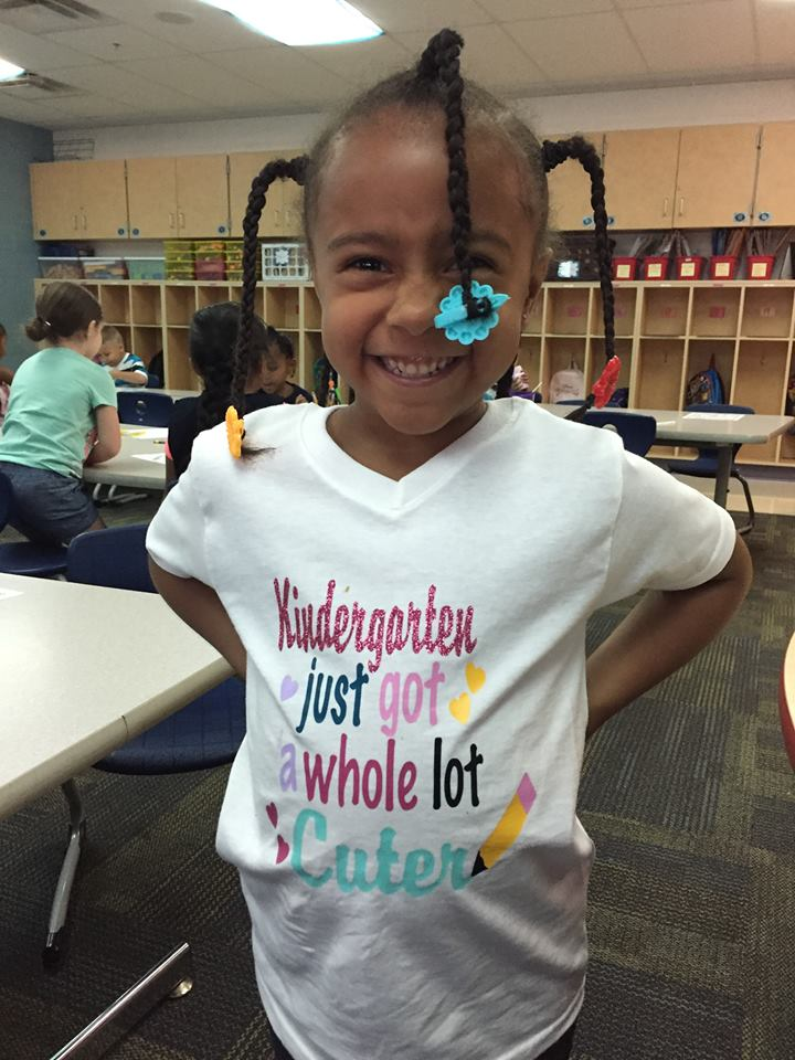 Student with Kindergarten shirt
