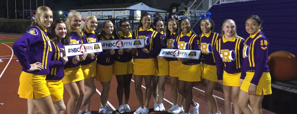 Cheerleaders with NBC 4 FFN sign