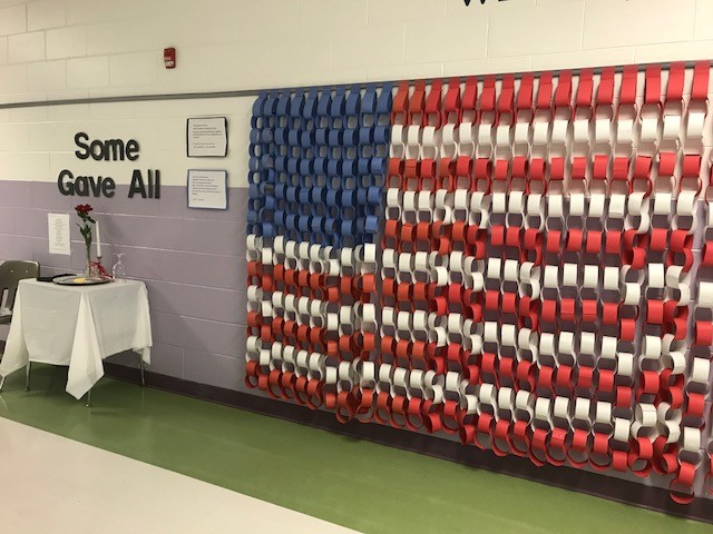 American Flag made out of chains