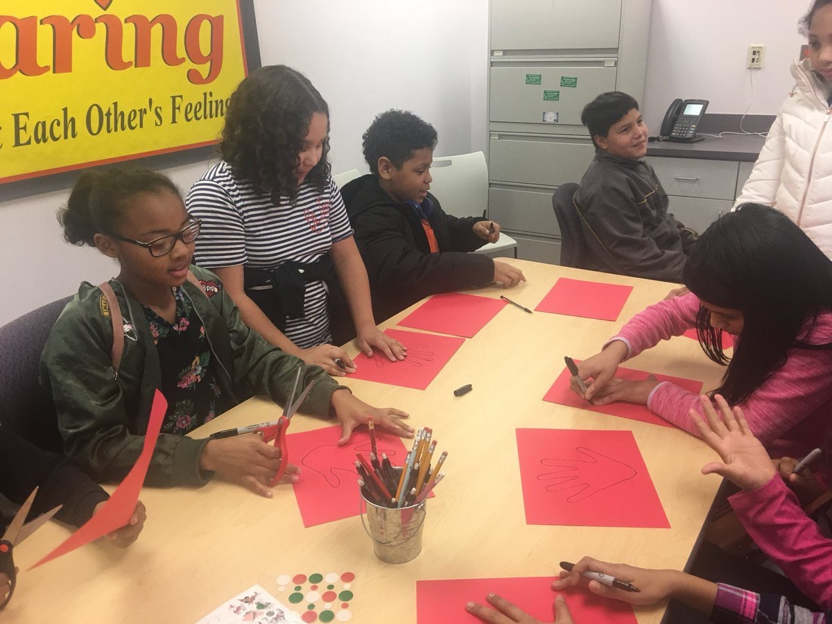 Service Learning Club making ornaments for nursing home.