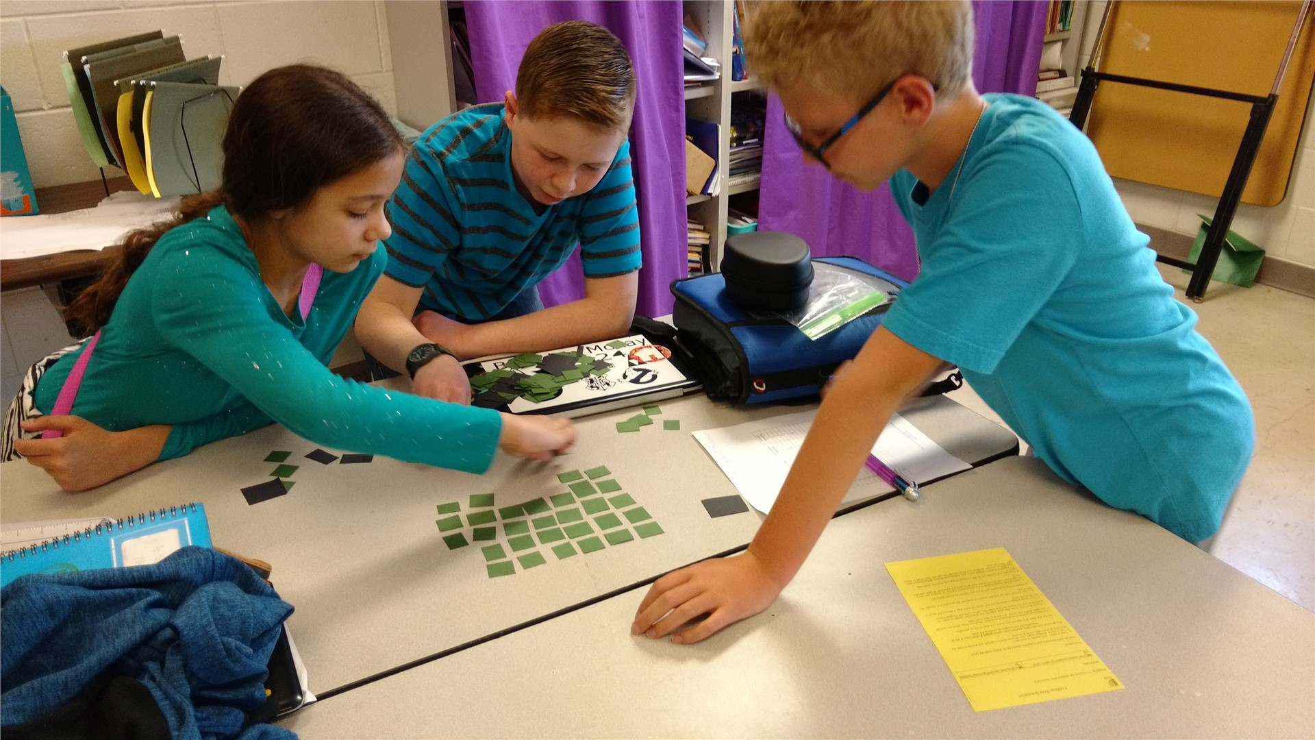 5th graders in Ms. Hawley's science class were working through a scenario that looked at the rabbit and coyote population.