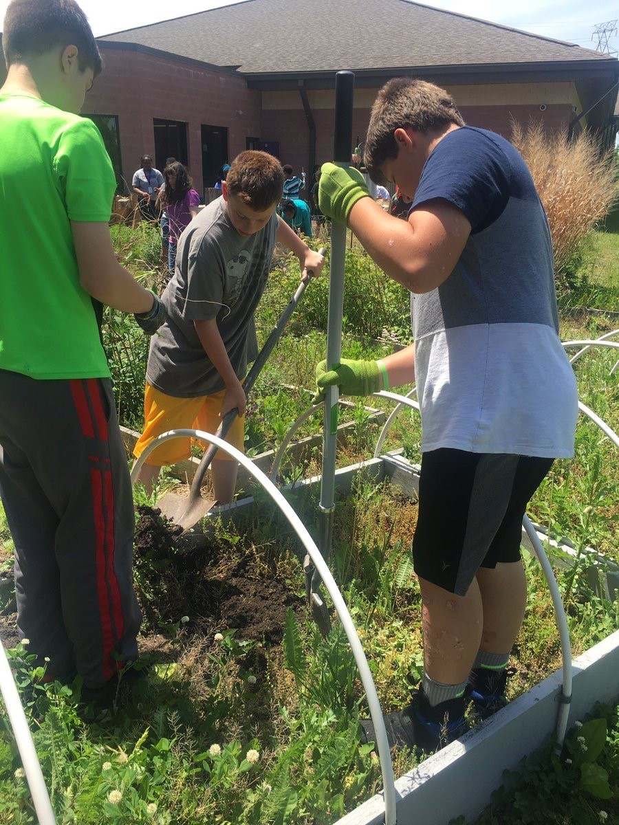 WRMS students gardening