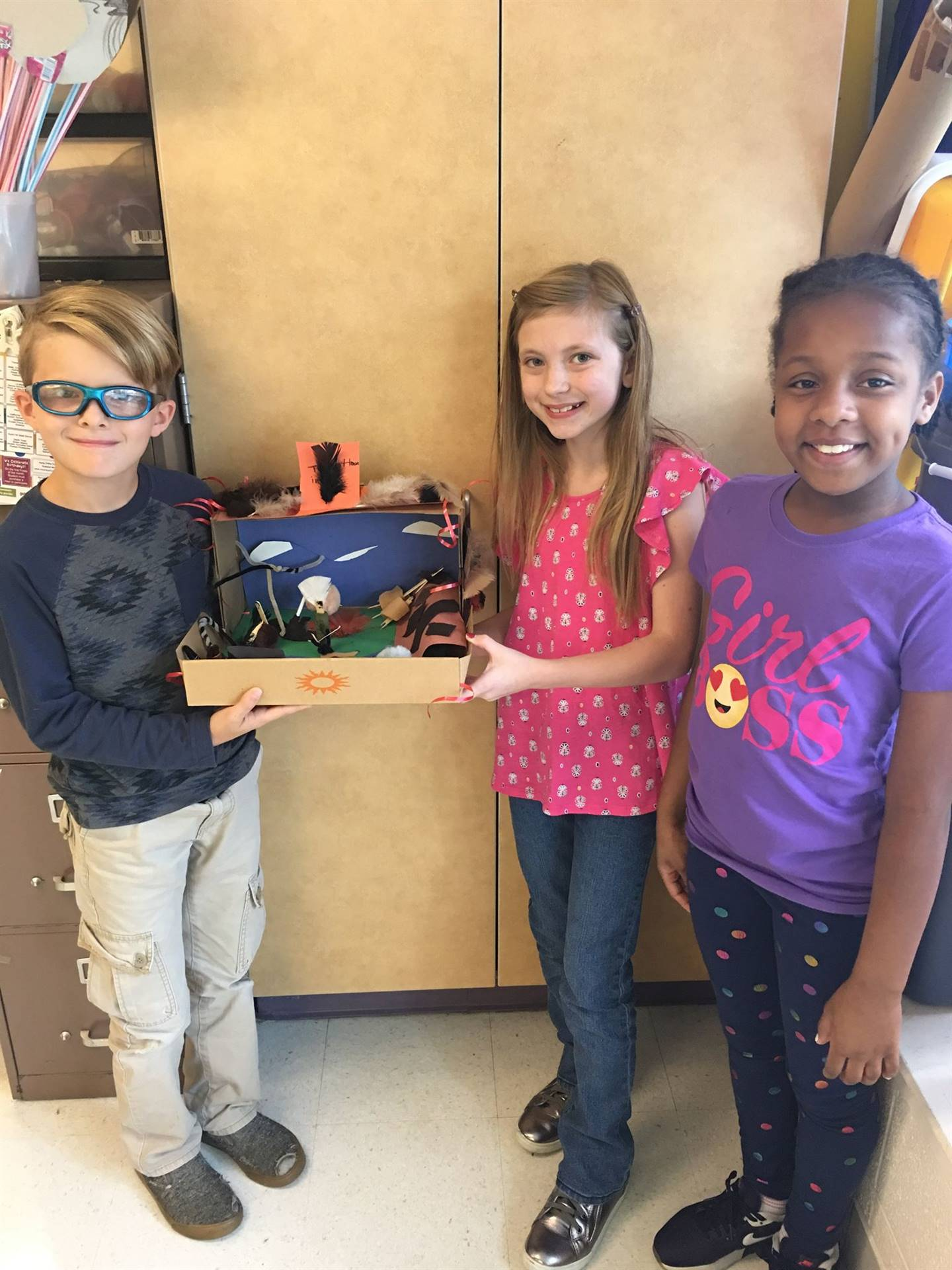 4th grade students with their dioramas