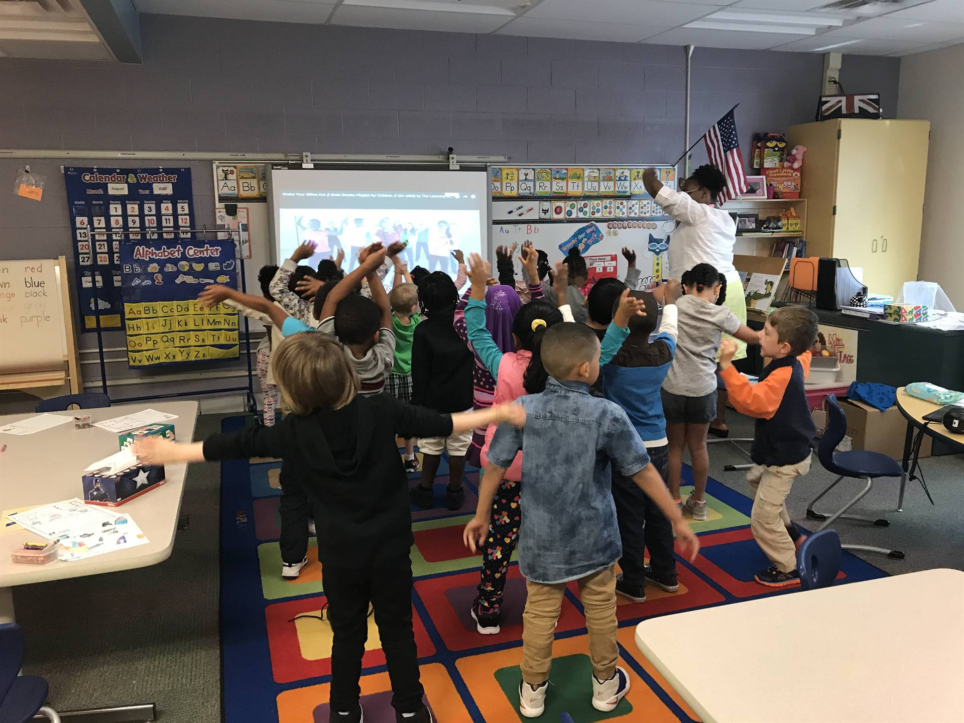 Kindergarten students learning with movement!