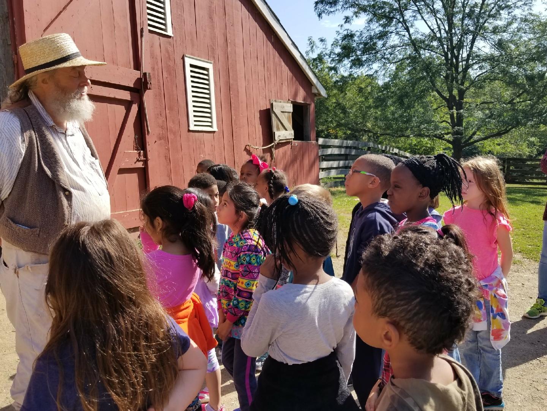 First Grade students visit Slate Run Historical Farm