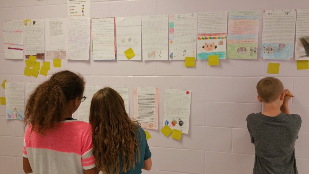 WRMS students revising blog posts