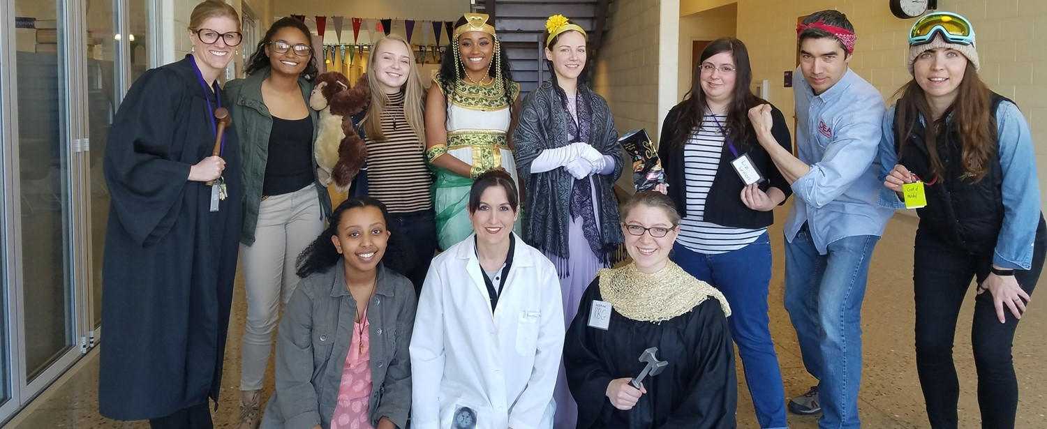 Staff and students dressed up as women in history