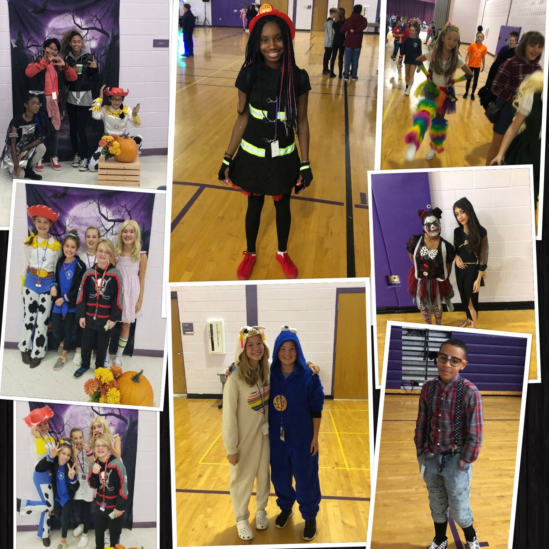 This is a collage of 7th and 8th grade students dressed in costume at the district Halloween Dance.