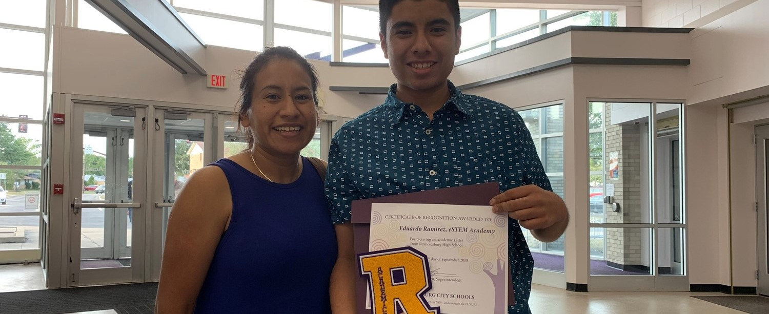 Edward from RHS' eSTEM Academy with his Academic Letter