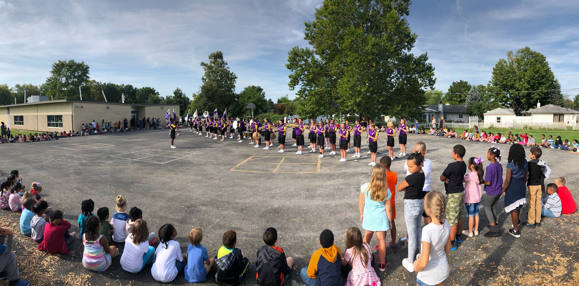 Firebirds enjoy RHS Marching Band visit.