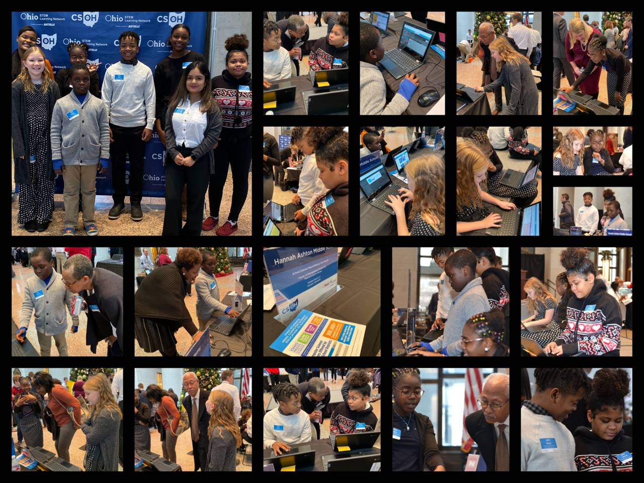 This collage shows 5th and 6th graders showing their websites and games on Code.org to legislators a