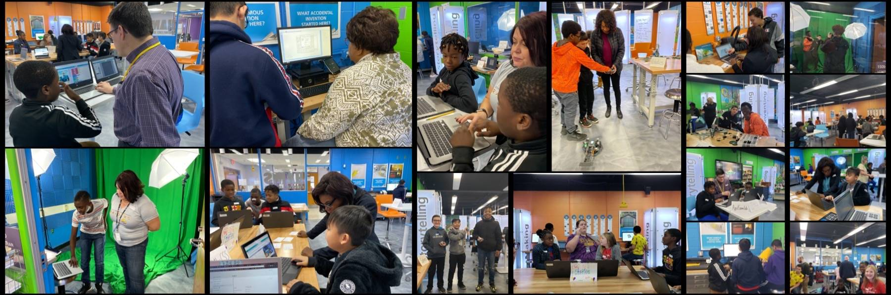 This is a collage of pictures of students with community members in our Innovation Lab.