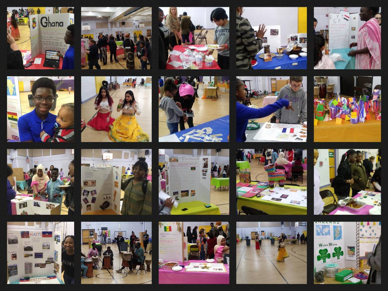 This is a collage of families and students set up in the HAMS gym at booths for various cultures.