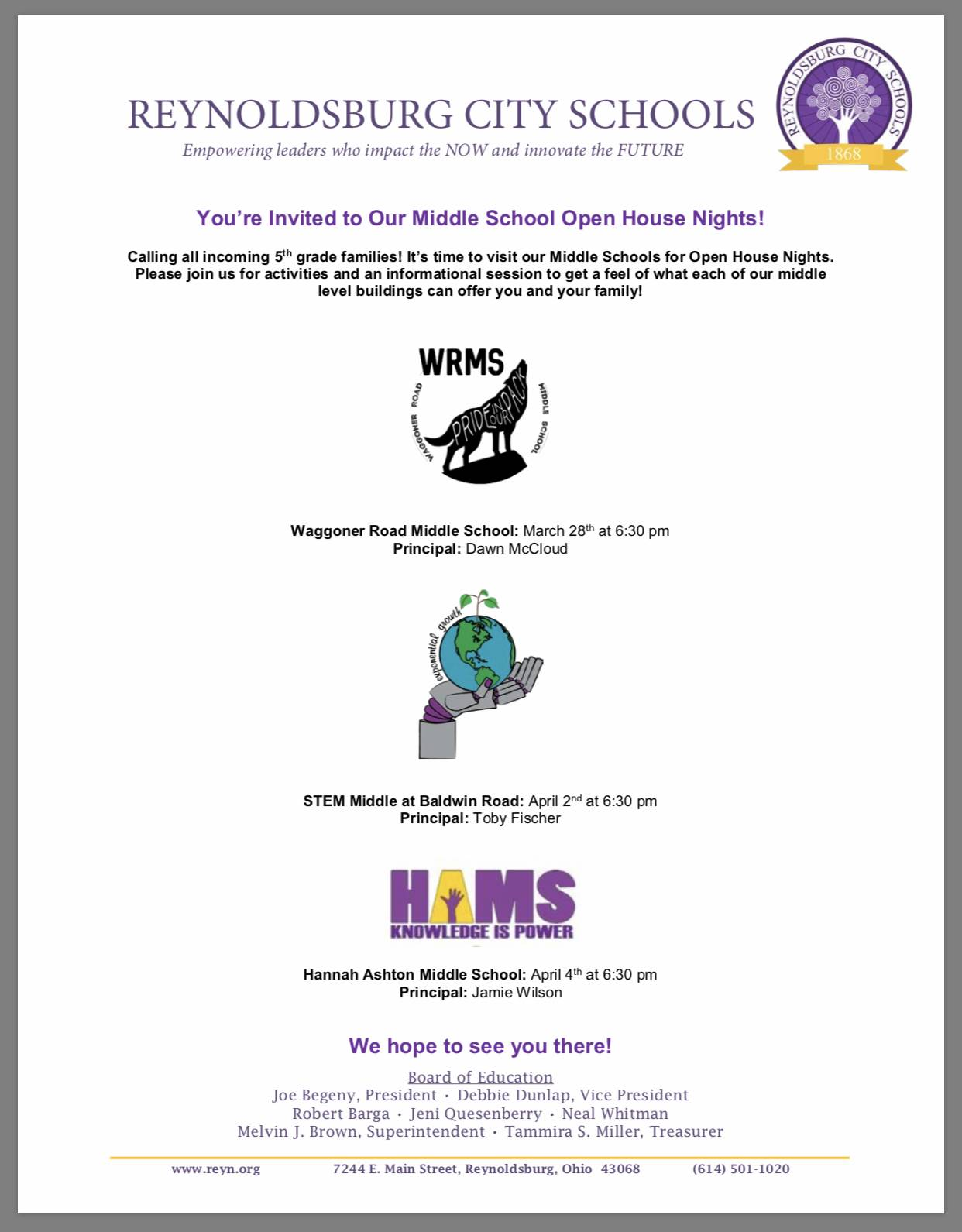 Middle School Open House Dates Times and Locations