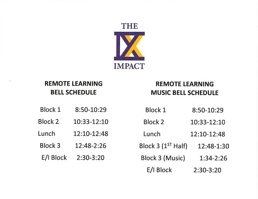 Remote Learning Bell Schedule and Music Bell Schedule