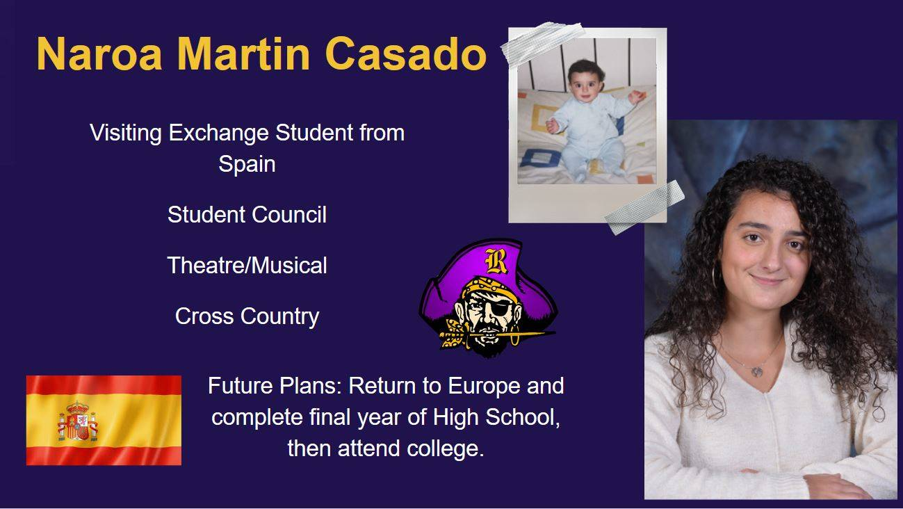 Senior Spotlight, student image, raider head, college logo, high school achievements and future plan