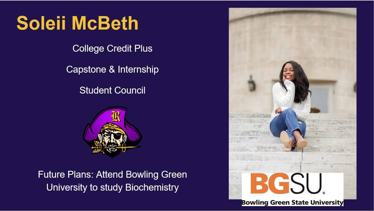 Senior Spotlight, student image, raider head, college logo, high school achievements and future plan