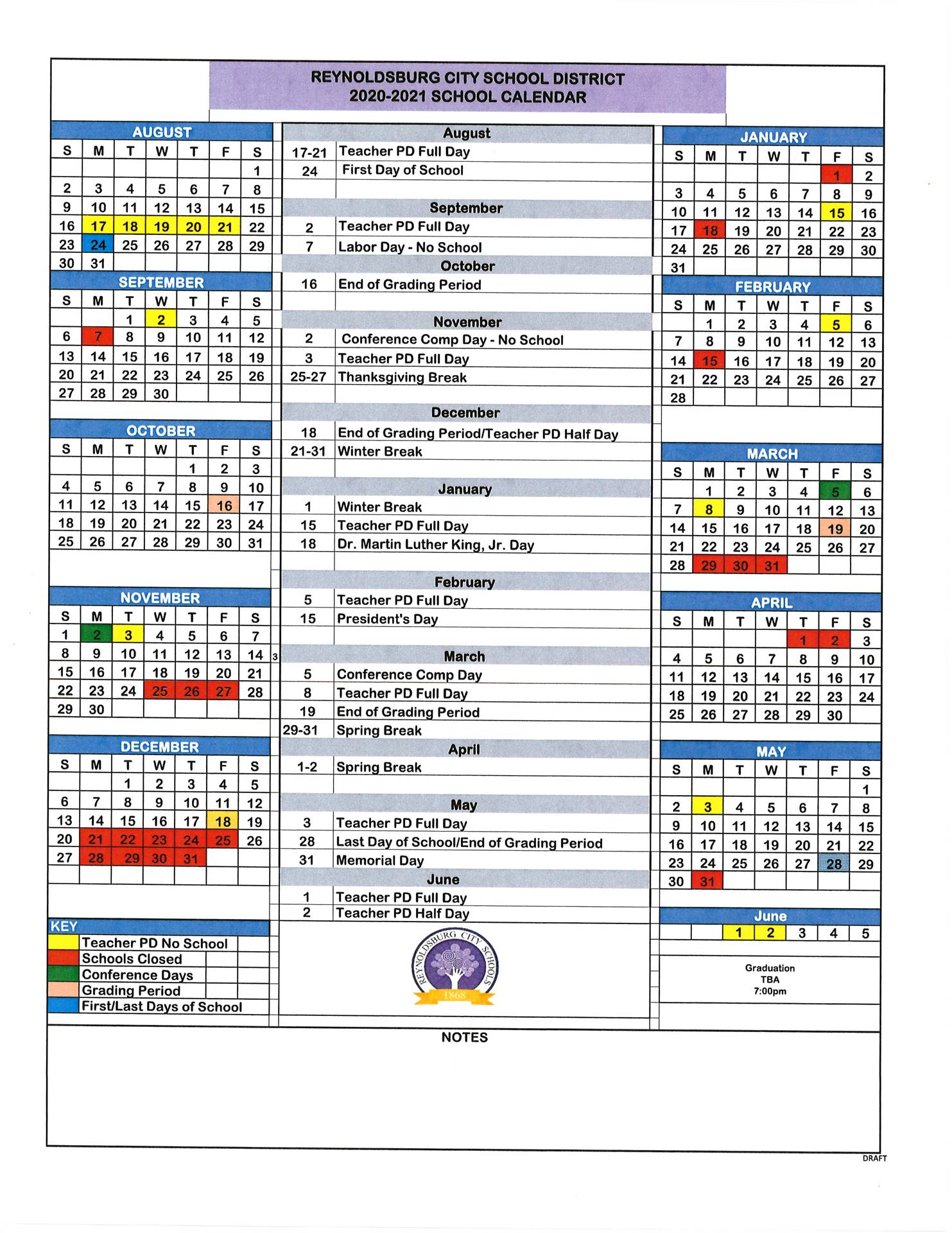 2020 2021 Calendar and Important Events