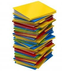 photo of a large stack of multi color files