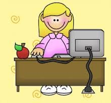 clipart of blonde lady sitting behind desk using computer.