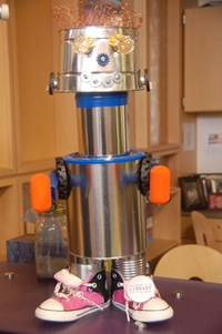 photo of robot created using recycled materials.