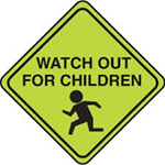 "street sign stating ""watch out for children"""