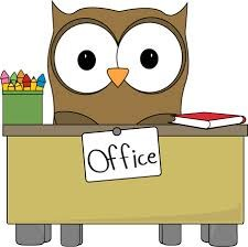 clipart of cartoon owl sitting behind office desk.
