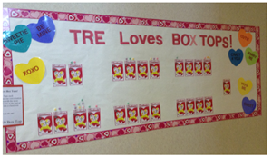Boxtops for Education Valentines Day Wall