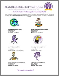 Kindergarten Open House April 27 from 6-7 pm.