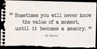 """Sometimes you will never know the value of a moment, until it becomes a memory."" ~Dr. Seuss"