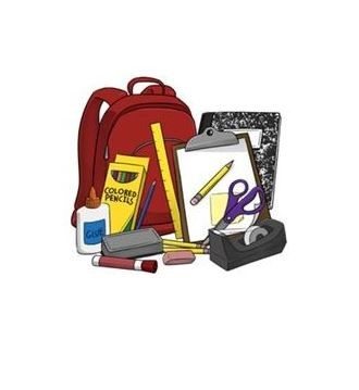 book bag with supplies