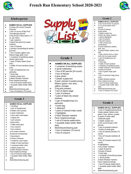 20/21 Supply Lists