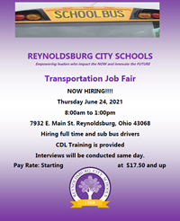 Transportation Job Fair June 24, 2021 8:00am - 1:00pm